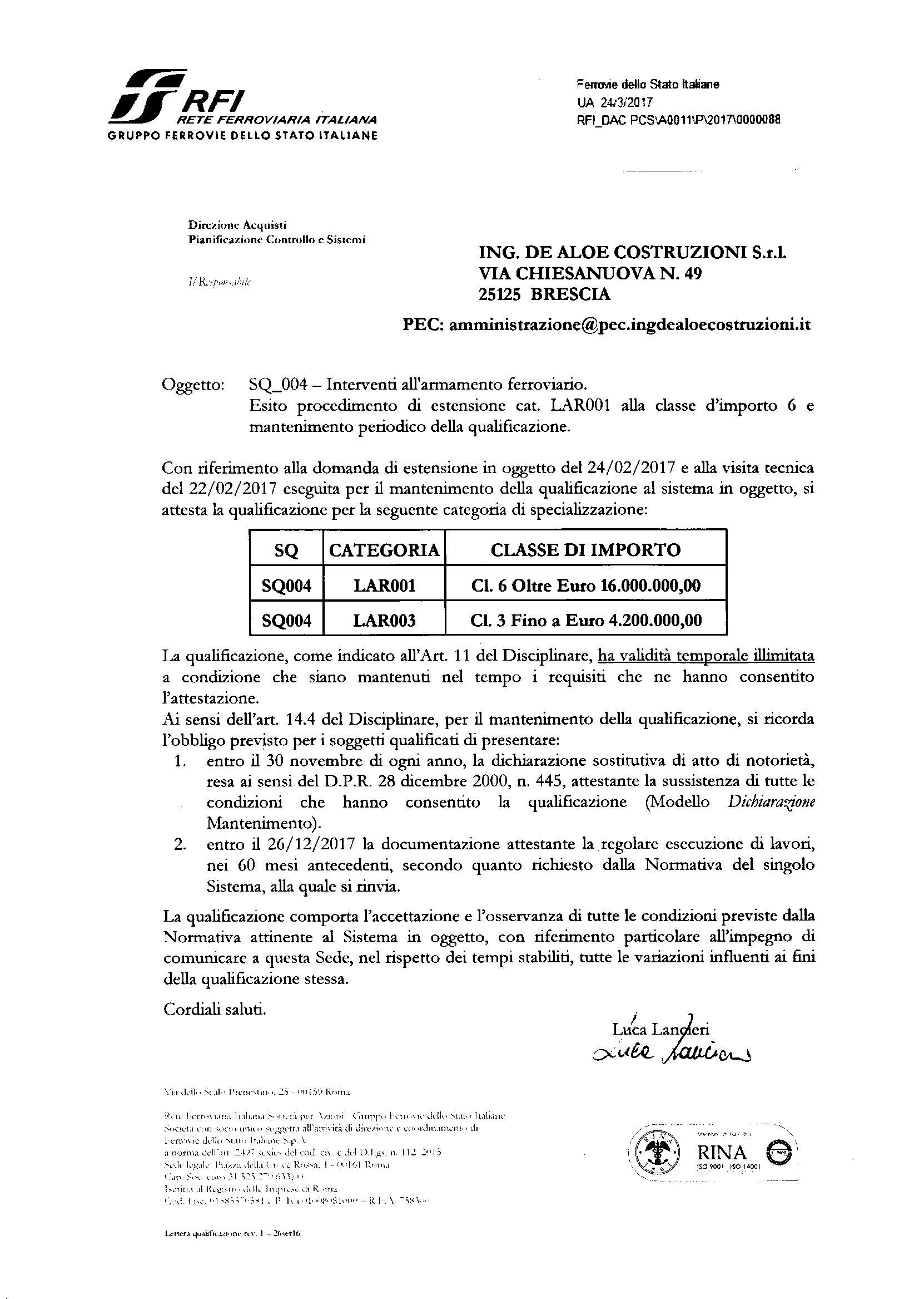 Certificazione RFI